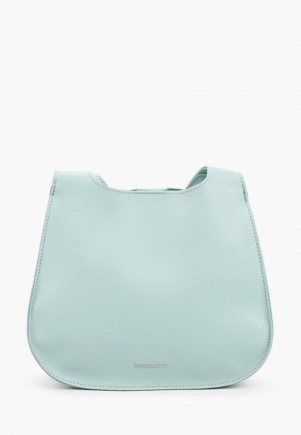 женская сумка через плечо thomas munz, бирюзовая