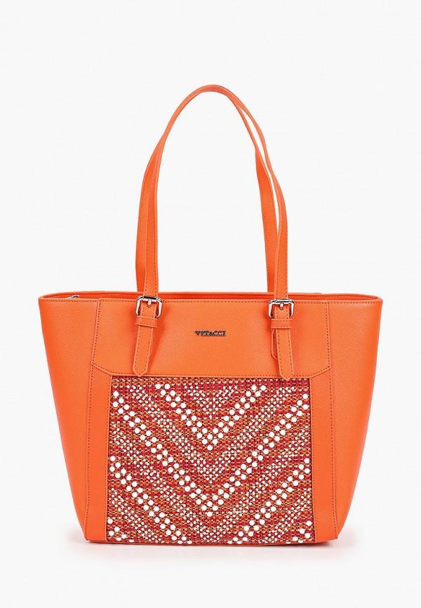 женская сумка-шоперы vitacci, оранжевая