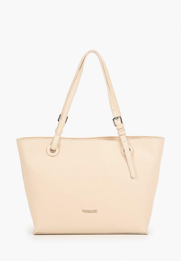 женская сумка-шоперы vitacci, бежевая