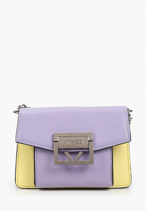 женская сумка с ручками vitacci, фиолетовая
