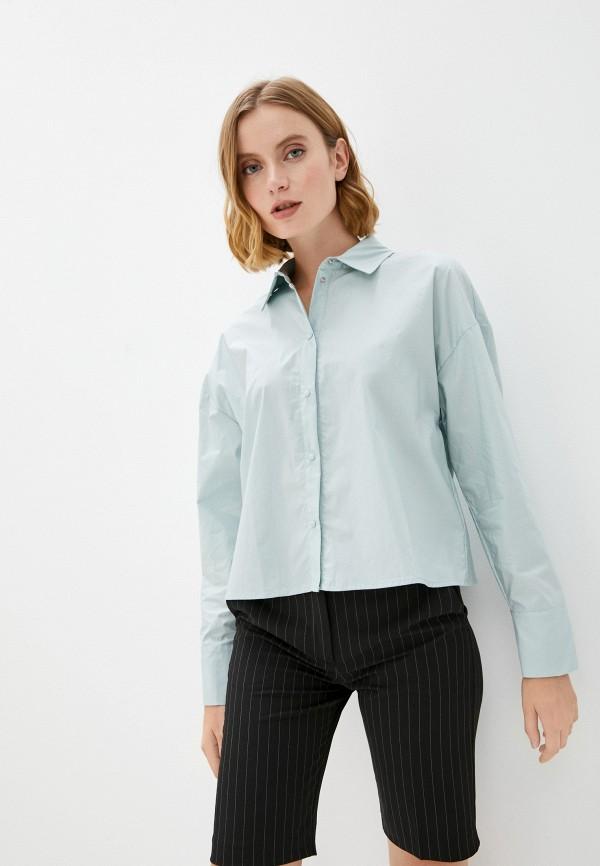 женская рубашка с длинным рукавом befree, бирюзовая