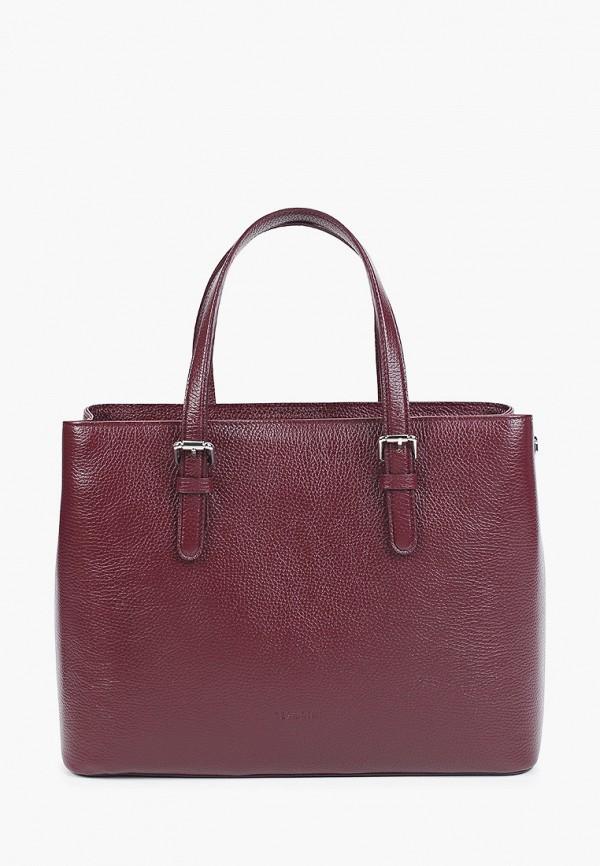 женская сумка с ручками tesorini, бордовая