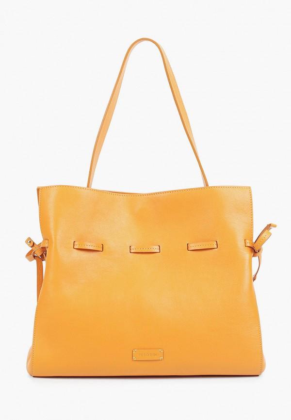женская сумка с ручками tesorini, оранжевая