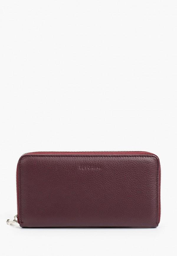 женский кошелёк tesorini, бордовый