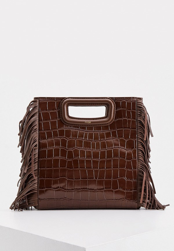 женская сумка с ручками maje, коричневая