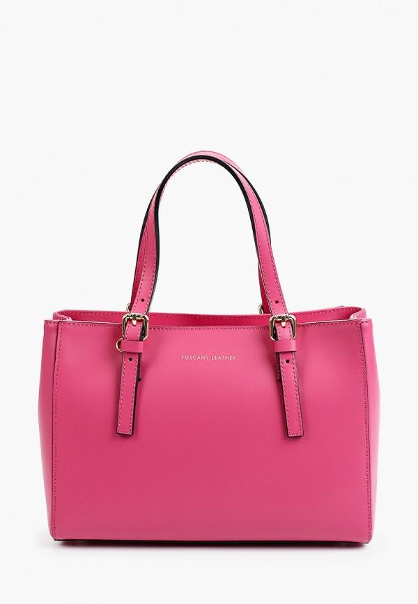 женская сумка с ручками tuscany leather, розовая