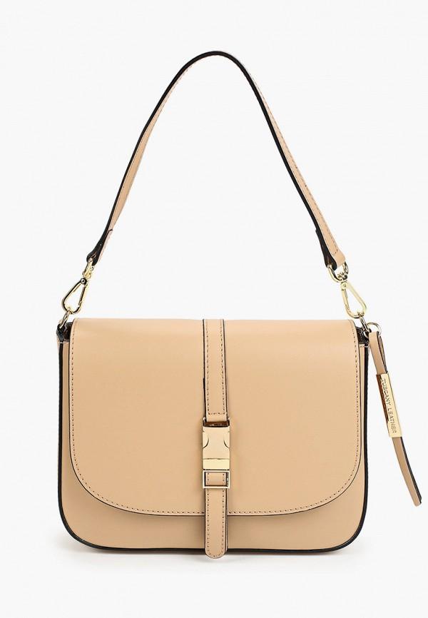 женская сумка с ручками tuscany leather, бежевая
