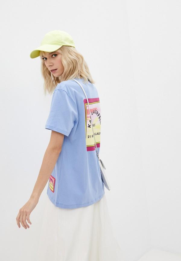 женская футболка karl lagerfeld, голубая