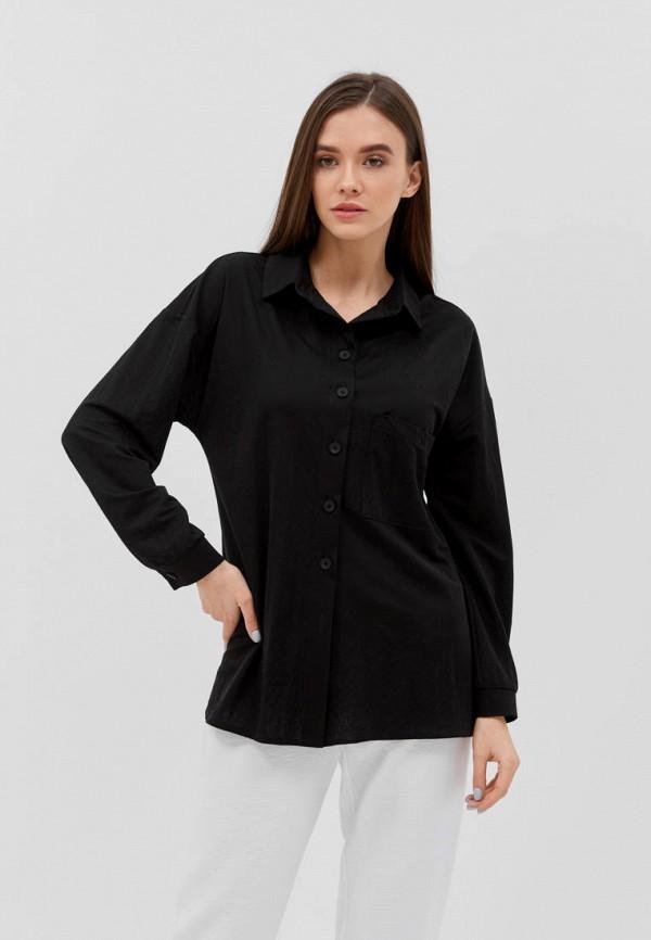женская рубашка с длинным рукавом seventeen, черная