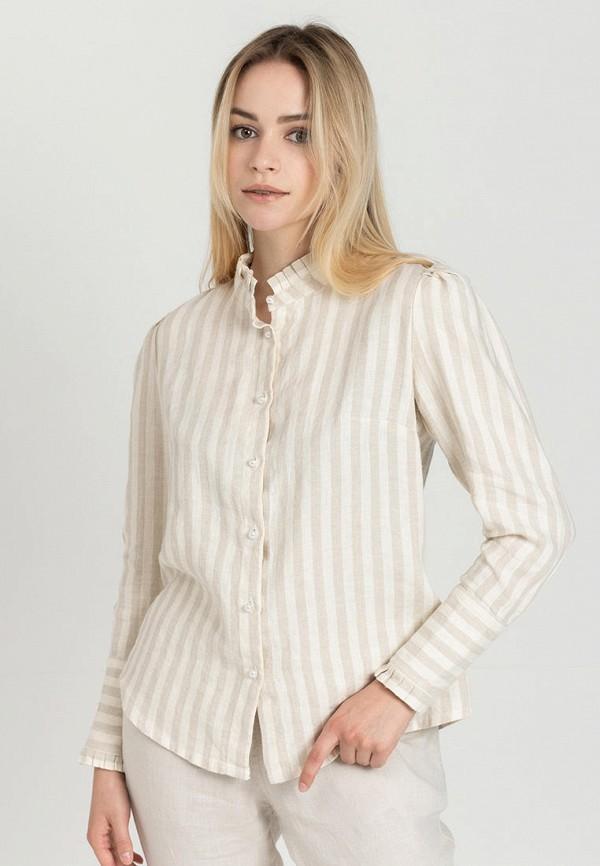 женская рубашка с длинным рукавом feel and fly, бежевая