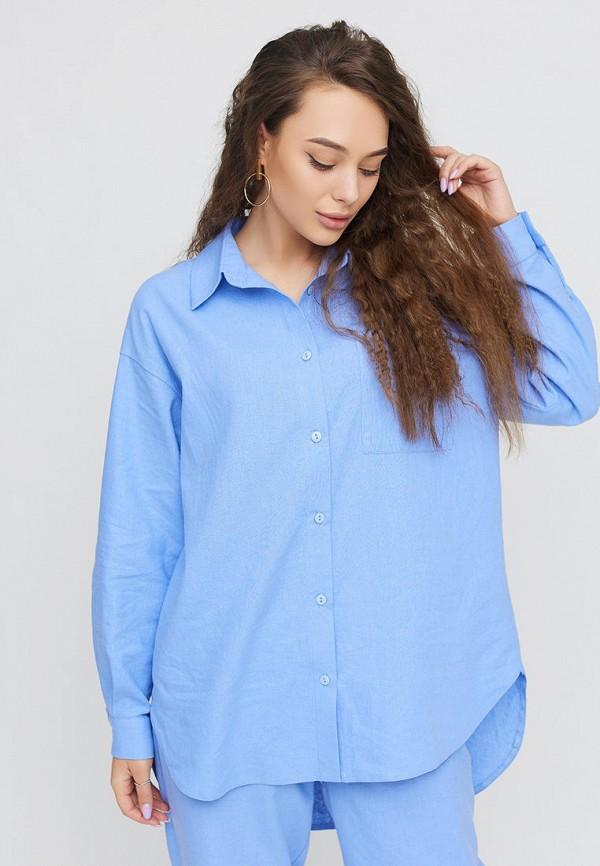 женская рубашка с длинным рукавом cardo, голубая