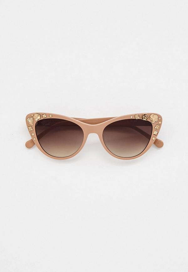 женские солнцезащитные очки кошачьи глаза baldinini, бежевые