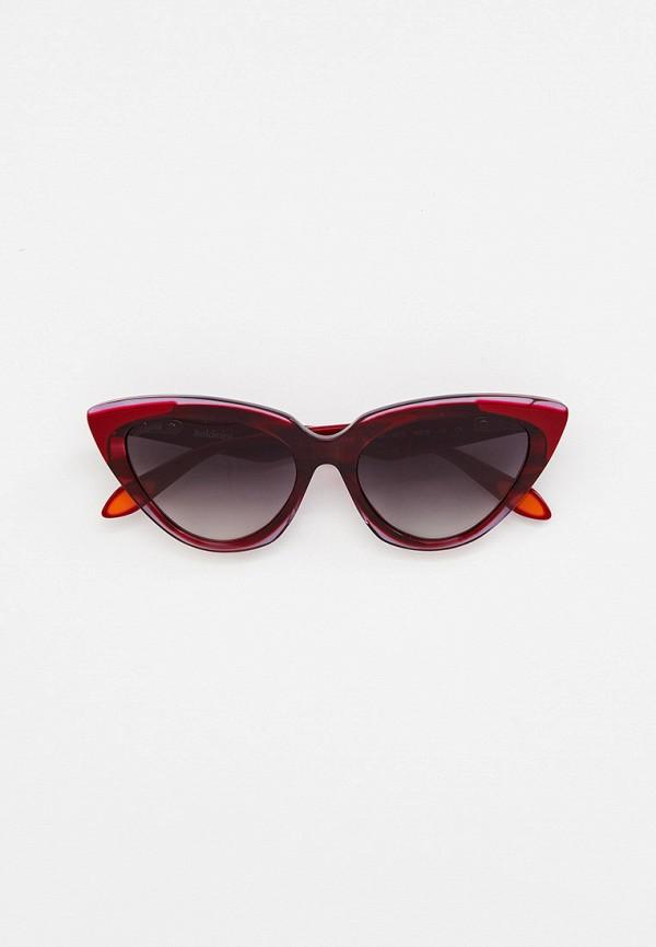 женские солнцезащитные очки кошачьи глаза baldinini, бордовые