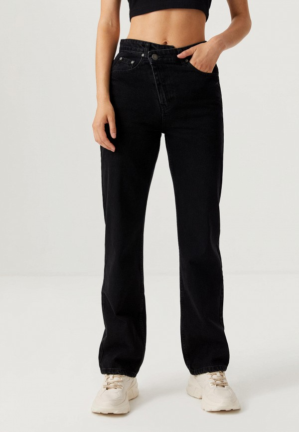 женские прямые джинсы sela, черные