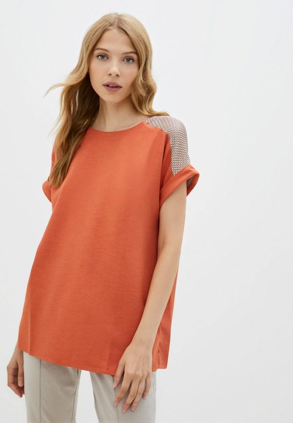 женская блузка с коротким рукавом sei tu, оранжевая