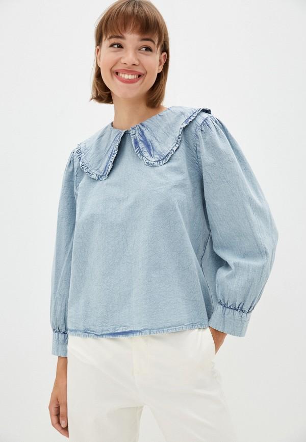 женская блузка с длинным рукавом incity, голубая