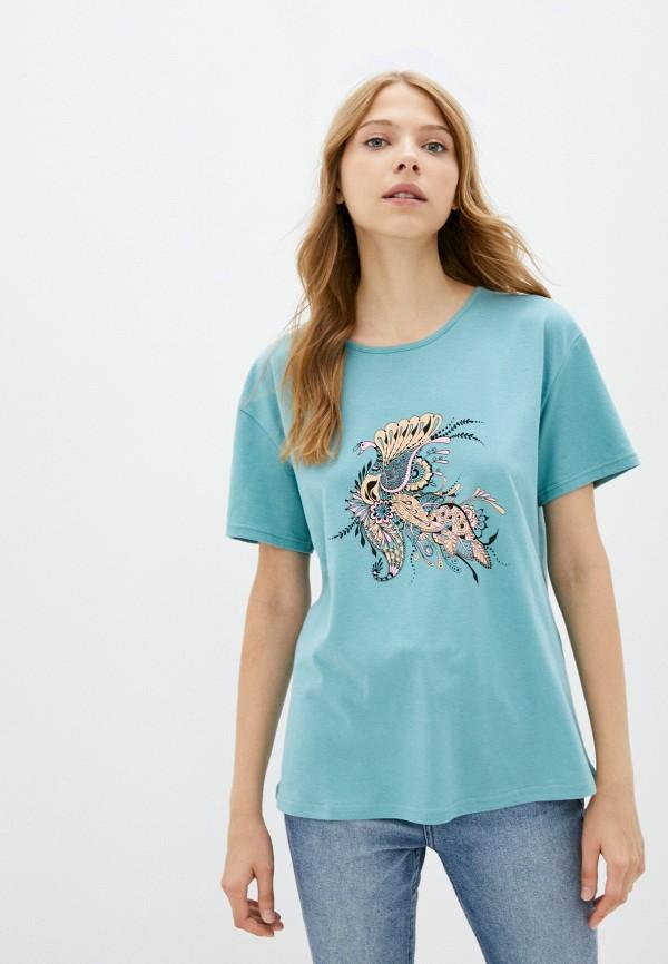 женская футболка eva cambru, бирюзовая