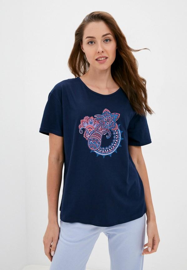 женская футболка eva cambru, синяя