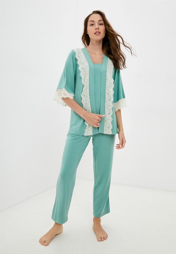 женская пижама eva cambru, зеленая