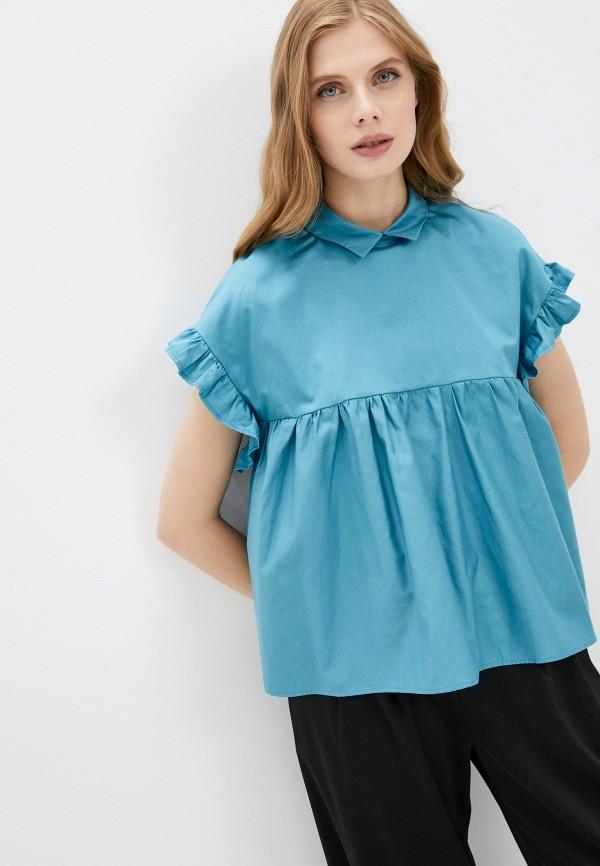 женская блузка с коротким рукавом naturel, бирюзовая