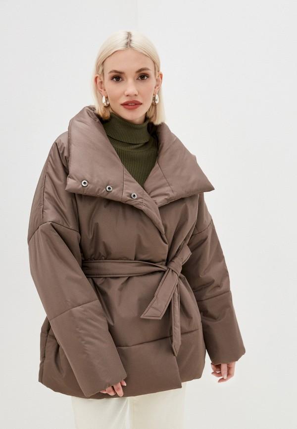 женская утепленные куртка vera nicco, коричневая