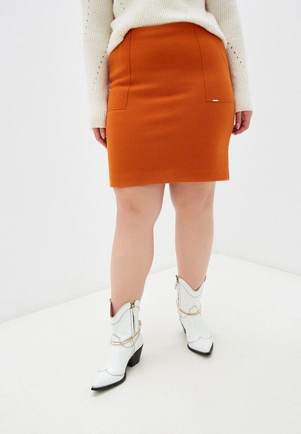 женская прямые юбка salko, оранжевая