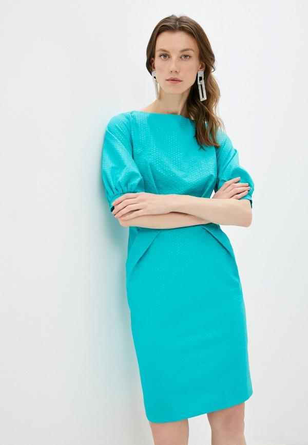 женское платье-футляр patricia charme, бирюзовое