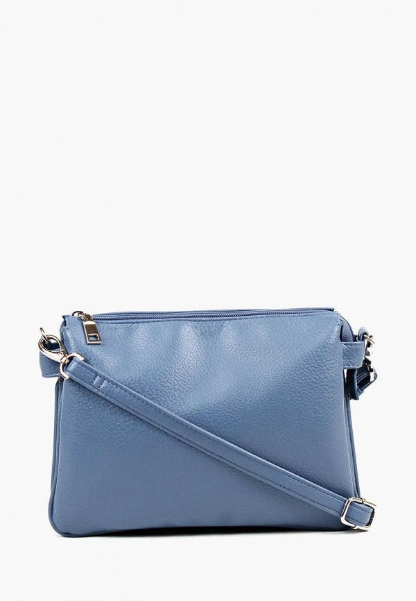 женская сумка через плечо медведково, голубая