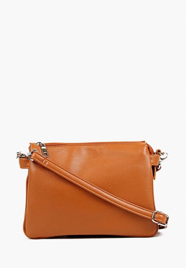 женская сумка через плечо медведково, коричневая
