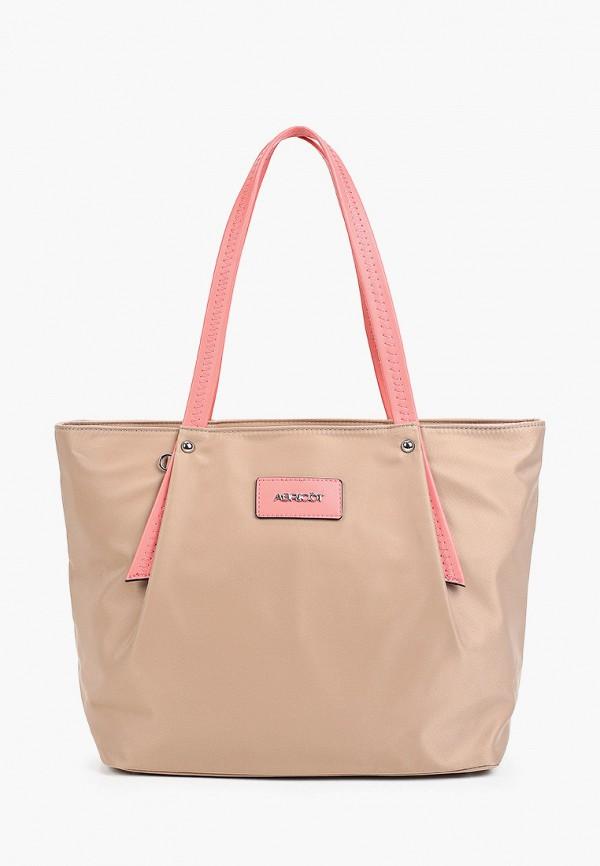 женская сумка-шоперы abricot, бежевая