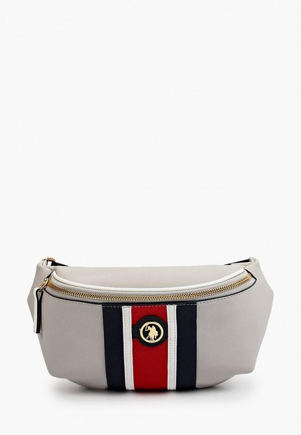 женская поясные сумка u.s. polo assn, серая