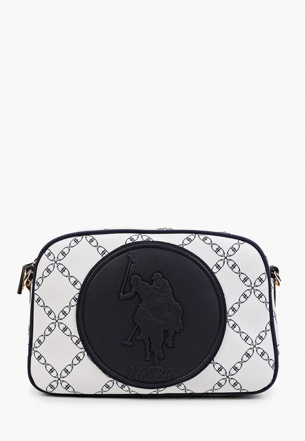 женская сумка через плечо u.s. polo assn, белая
