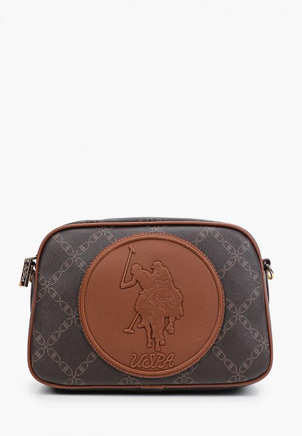 женская сумка через плечо u.s. polo assn, коричневая