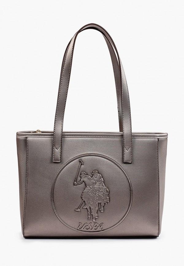 женская сумка с ручками u.s. polo assn, коричневая