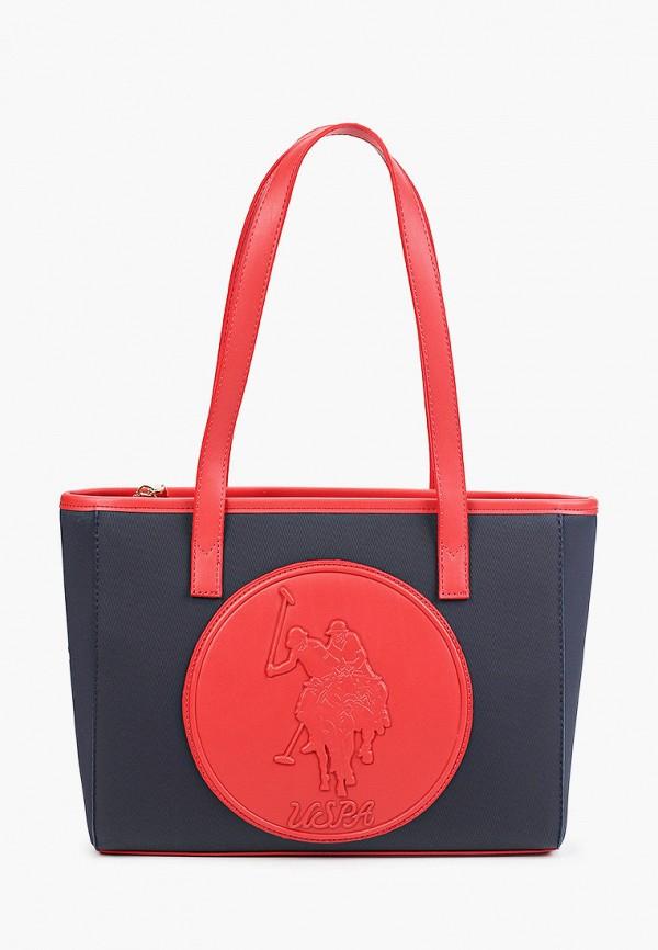 женская сумка с ручками u.s. polo assn, синяя