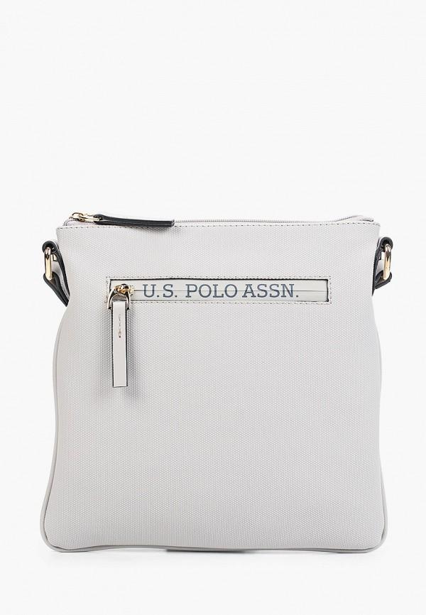 женская сумка через плечо u.s. polo assn, серая