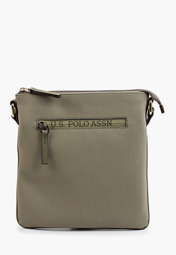женская сумка через плечо u.s. polo assn, хаки