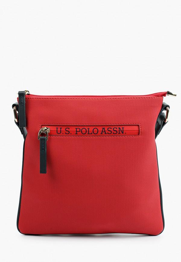 женская сумка через плечо u.s. polo assn, красная