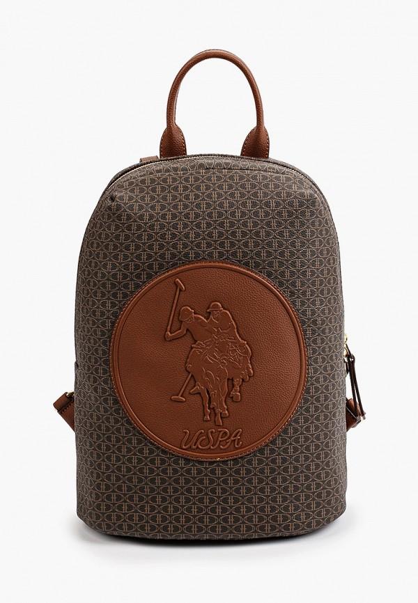 женский рюкзак u.s. polo assn, коричневый