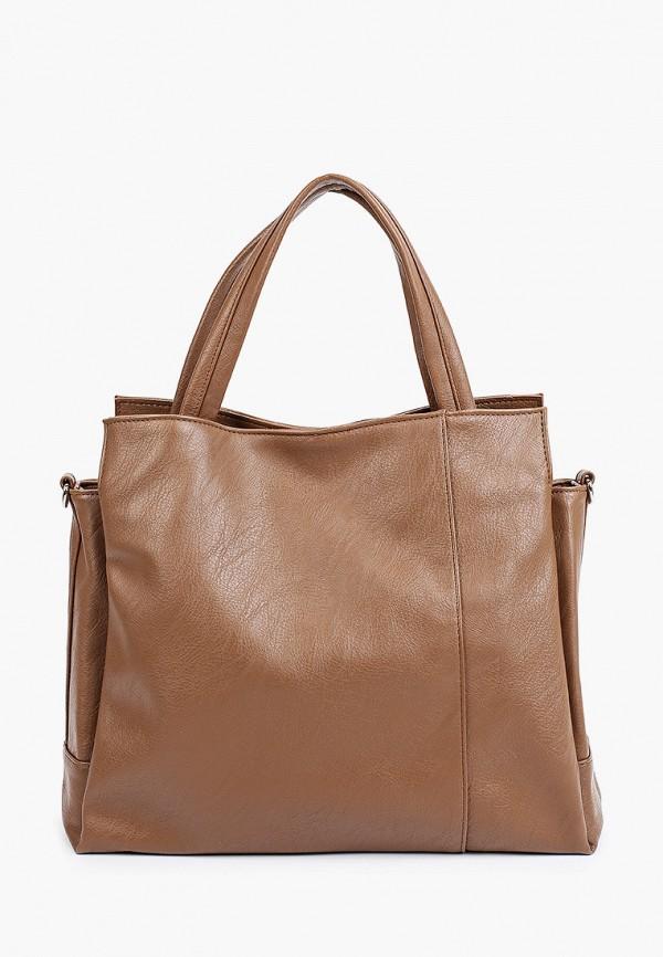 женская сумка с ручками медведково, коричневая