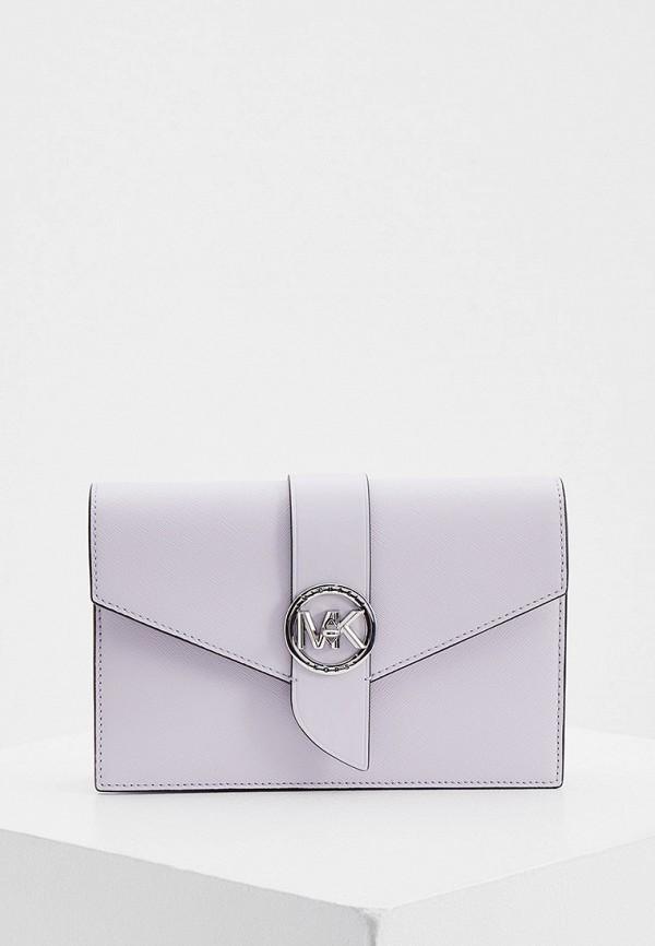 женская сумка через плечо michael kors, фиолетовая