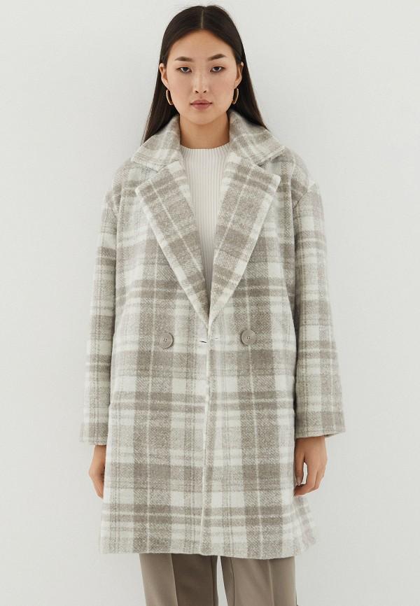женское двубортные пальто zarina, бежевое