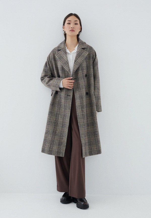 женское двубортные пальто zarina, коричневое