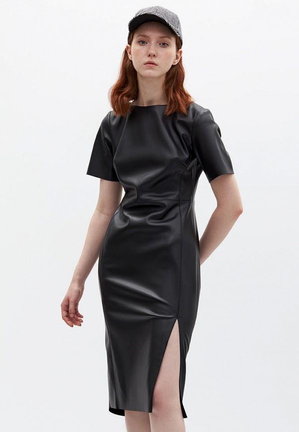 женское кожаные платье lime, черное