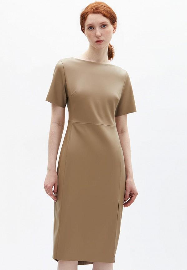женское кожаные платье lime, бежевое