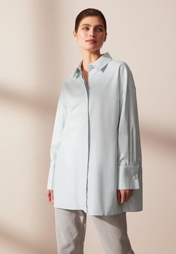 женская рубашка с длинным рукавом 12storeez, бирюзовая