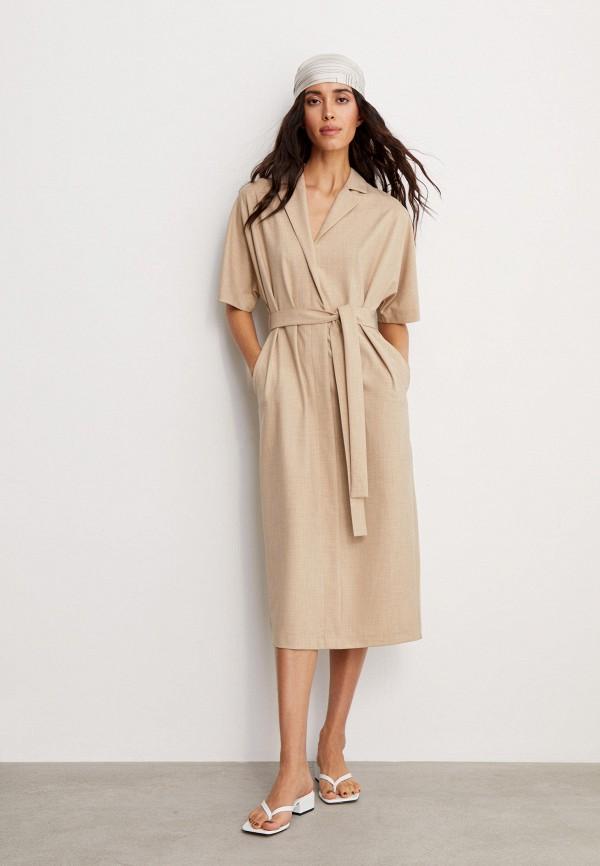 женское платье с запахом 12storeez, бежевое
