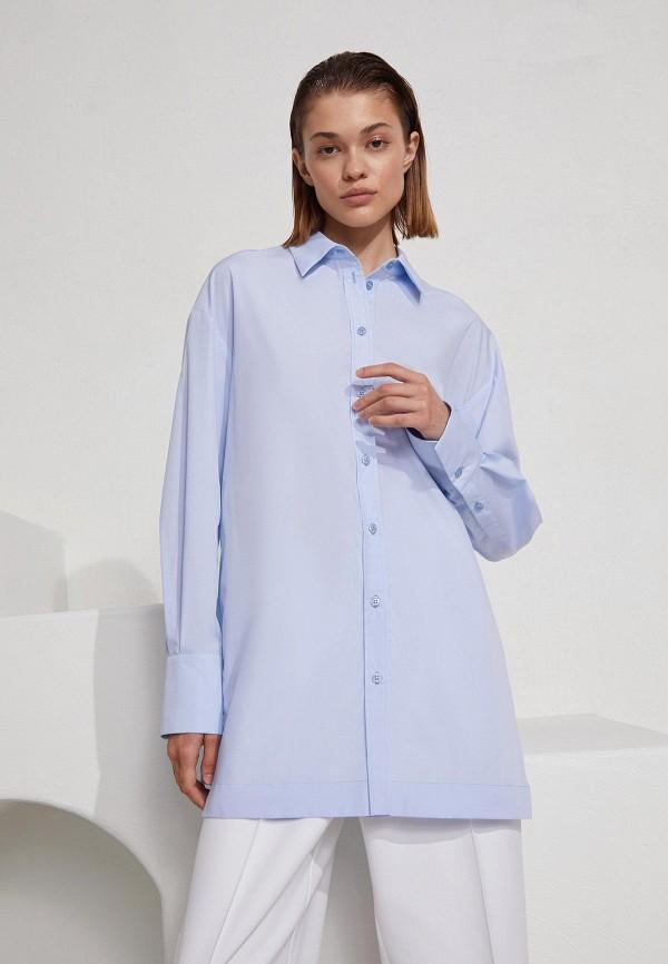 женская рубашка с длинным рукавом 12storeez, голубая