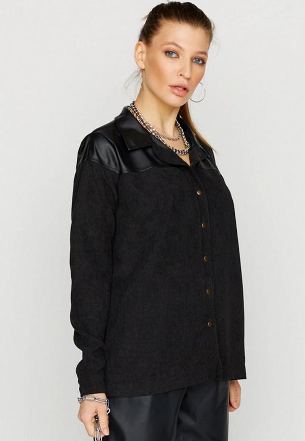 женская рубашка с длинным рукавом karree, черная