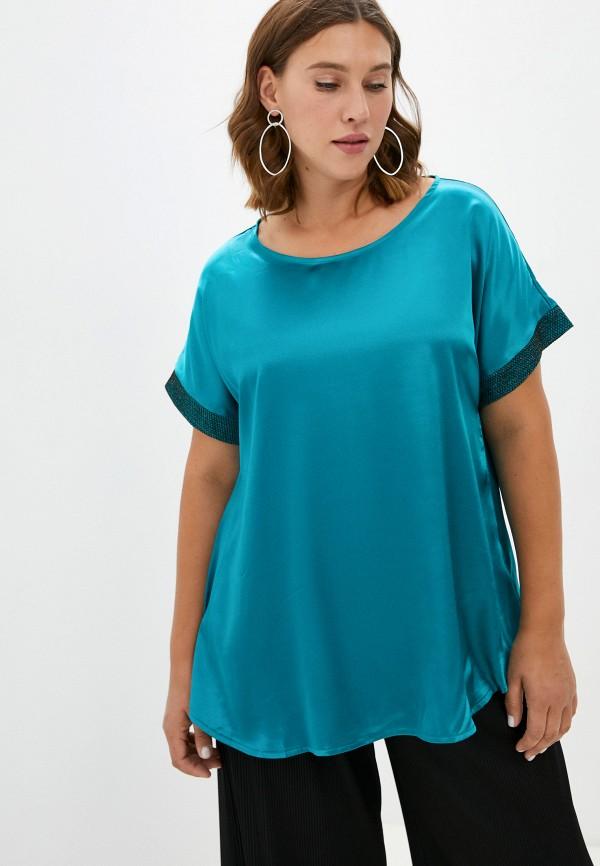 женская блузка с коротким рукавом ckc collections, бирюзовая